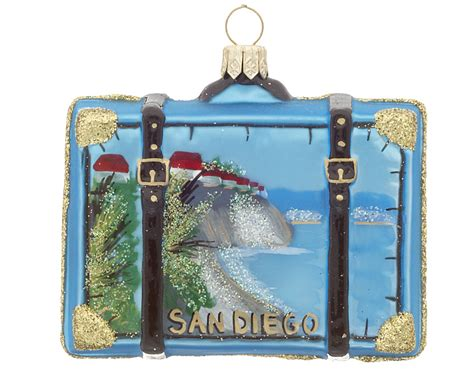 san diego suitcase christmas ornament city