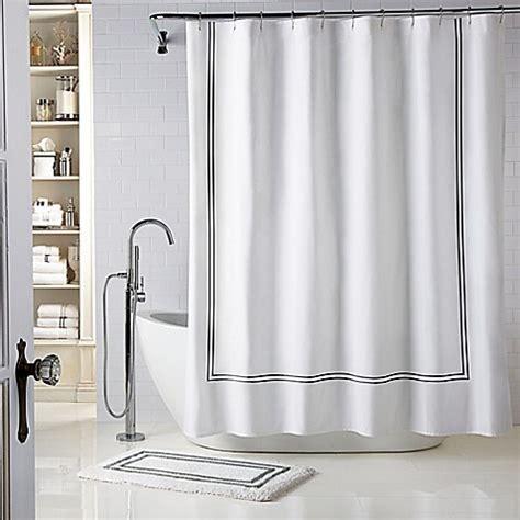 white hotel shower curtain wamsutta 174 baratta stitch shower curtain bed bath beyond