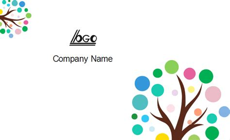 business tree template colorful tree business card template