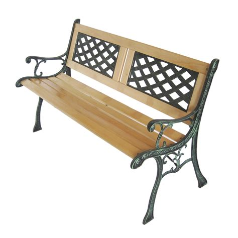 garden bench wrought iron and wood new 3 seater outdoor home wooden garden bench with cast