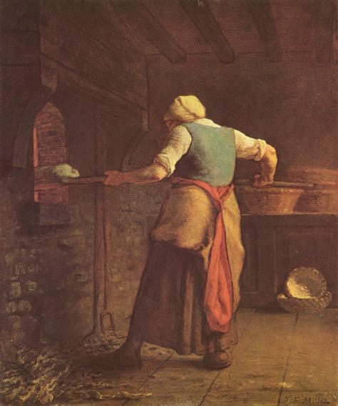 painting cooking baking bread 1854 jean francois millet wikiart org