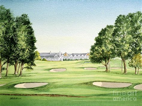 southern hills golf course 18th hole painting by bill holkham