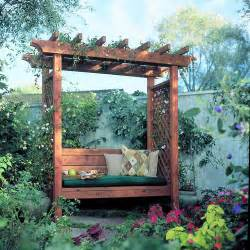 Garden Arbor With Bench How To Build A Garden Arbor Bench Sunset