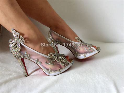 real glass slippers wedding shoes aliexpress buy limited cinderella glass slipper