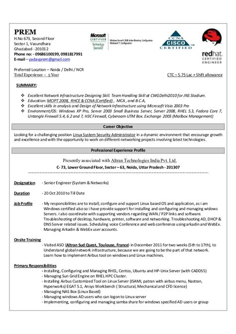 windows system administrator resume sles