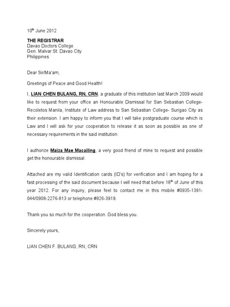 Request Letter For Honorable Dismissal Sle Honorable Dismissal Letter