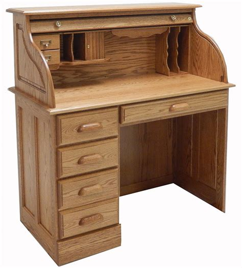 Roll Top Desk solid oak single pedestal roll top desk