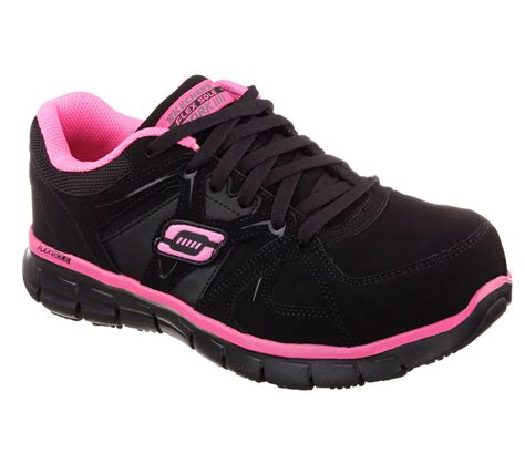 76553 black pink skechers shoes work memory foam