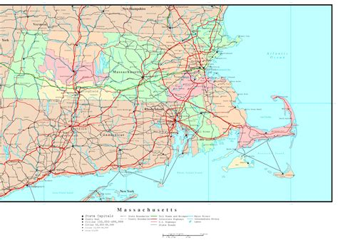 printable map massachusetts massachusetts political map