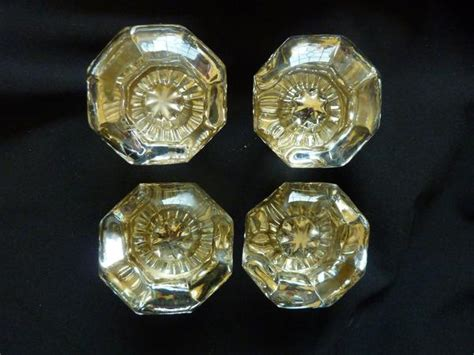 Glass Door Knobs With Backplates by 2 Pair Antique Glass Door Knobs Backplates Circa 1900