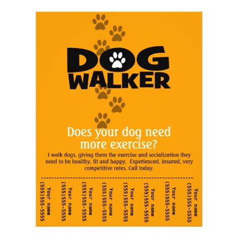 Dog Walking Business Tear Sheet Flyer Template Zazzle Walking Business Flyer Template