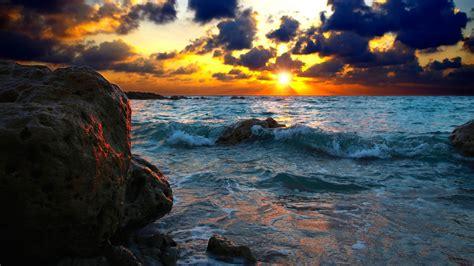 wallpaper hd 1920x1080 4k sunset on seaf stones waves 4k hd wallpaper hd wallpapers