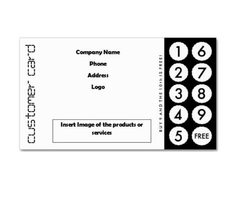 free printable loyalty card template punch cards template no2powerblasts