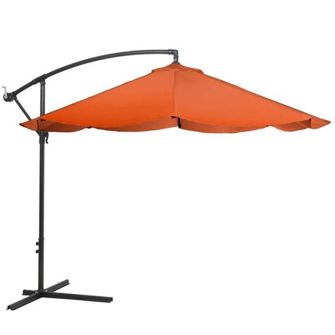 10 Ft Offset Patio Umbrella Garden 10 Ft Offset Aluminum Hanging Patio Umbrella In Terracotta M150069 The Home Depot