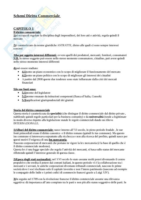 Diritto Commerciale Dispensa by Schemi Esame Appunti Di Diritto Commerciale