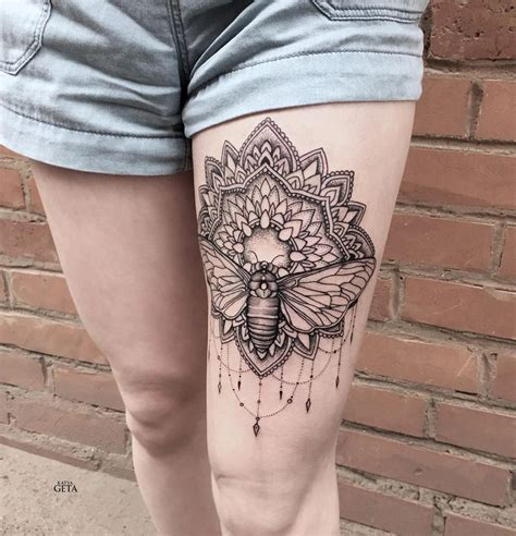 mandala leg tattoo 30 mandala tattoos on thigh for