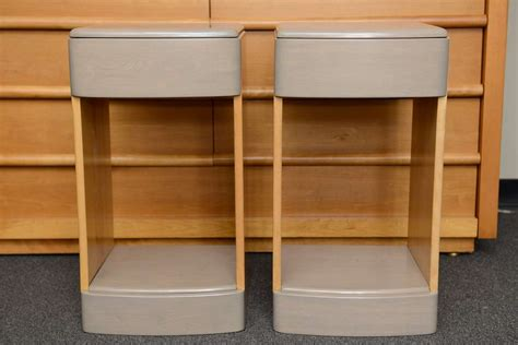 slim 30s streamline moderne two tone nightstands at 1stdibs