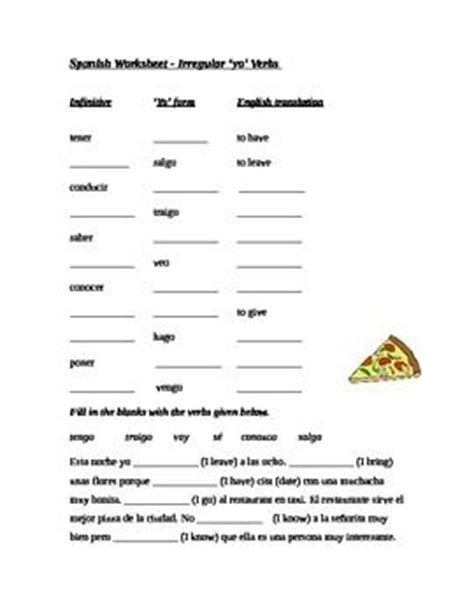 Verbs With Irregular Yo Forms Worksheet by Worksheet Irregular Yo Form Verbs Cloze