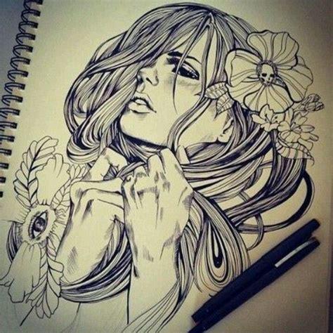 design visage instagram inked art girl hair rose soft pain ink pinterest