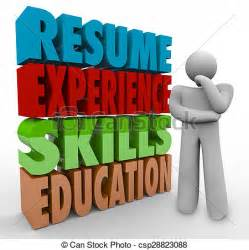 stock illustration of resume experience skills education