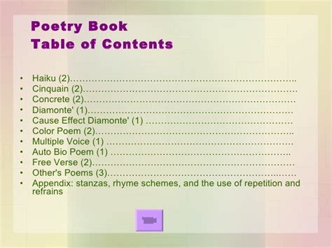 biography book table of contents poetry party directions jan 11