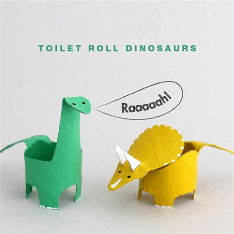 Paper Dinosaur Craft - toilet roll dinosaurs the craft