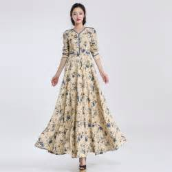 slim fit linen dress floral print floor length