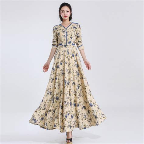 slim fit linen dress floral print floor length