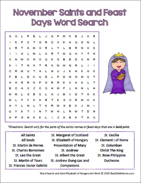 printable word search november november saints and feast days word search for catholic kids