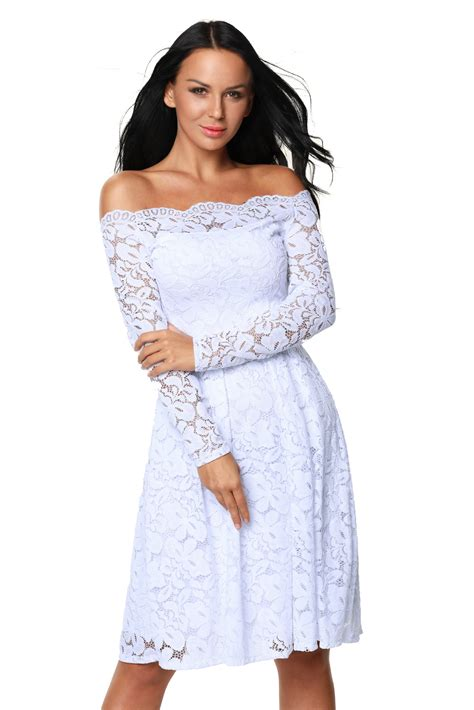 white long sleeve swing dress us 10 33 white long sleeve floral lace boat neck cocktail