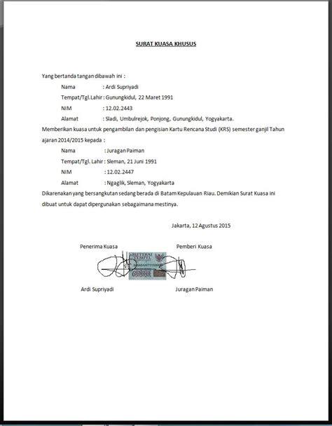 contoh format surat penurunan kuasa contoh surat kuasa yang baik dan benar terlengkap