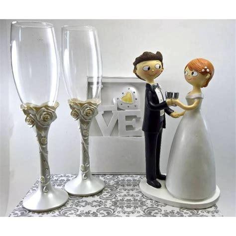 decoracion copas boda juego dos copas flor rosaset de copas boda en resina con