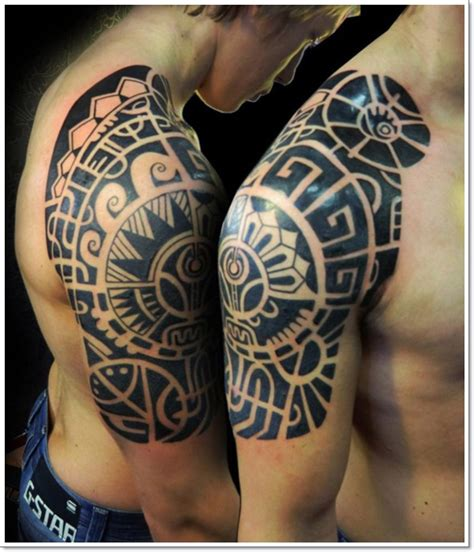 quarter sleeve aztec tattoo aztec and tribal armband quarter sleeve tattoos ideas