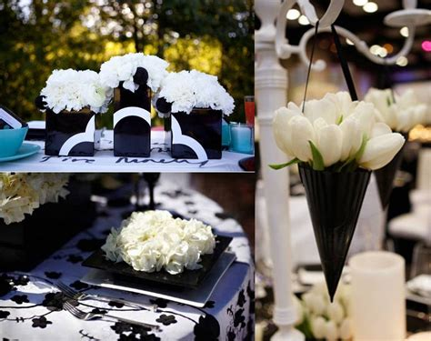 stylish black and white decoration for wedding