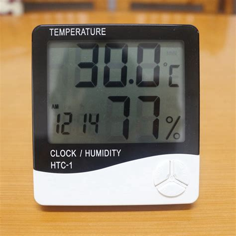 Hygrometer Thermometer Htc 1 Termometer Ruangan Digital Lcd Digital Thermometer Hygrometer Htc 1 Weather Station Temperature Humidity Meter Clock Lcd Indoor