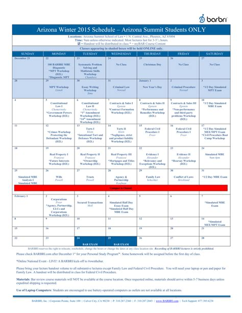 Florida Coastal School Of Jd Mba by Barbri Bar Review Winter Schedule 100 Images Bar Prep