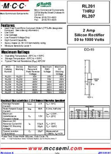 1n5401 diode datasheet rl205 tp datasheet specifications diode type standard voltage dc
