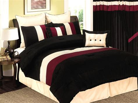 8 pcs burgundy black beige bedding comforter set queen ebay