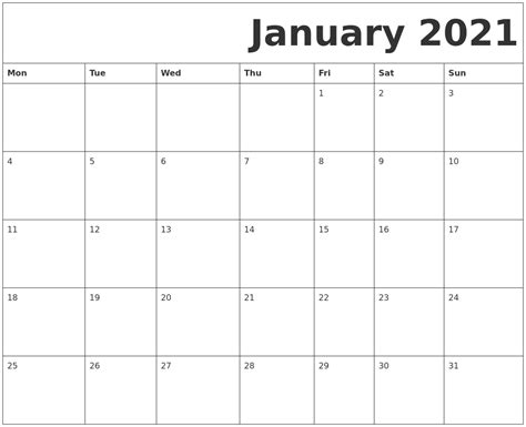 printable calendar january january 2021 free printable calendar
