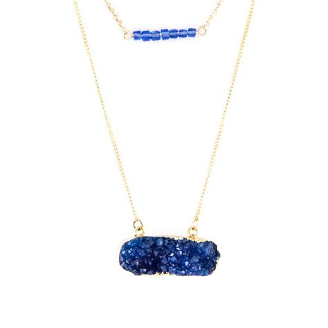 Chevron Beaded Druzy Layered Pendant Necklace Set