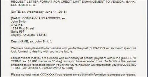 Letter Of Credit Limit To Customer letter to increase credit limit with supplier