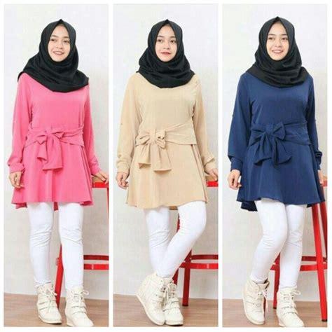 Blouse Cewek Marsha gambar model baju muslim terbaru modern bentuk tunik modis kombinasi rompi di rebanas rebanas