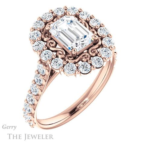 emerald cut engagement ring setting gtj1113 emerald r