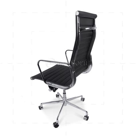 eames office chair high back ribbed leather white ea119 eames style office chair high back ribbed black leather