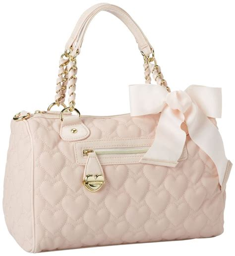 Betsey Johnson Quilted Satchel by Betsey Johnson Mine Yours Blush Pink Quilted Hearts