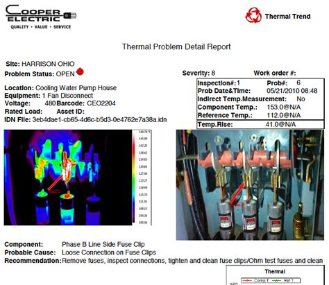thermal imaging report template thermographic inspections cooper electric