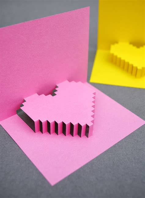 pixel pop up card template popular diy crafts how to make a pixel pop up card