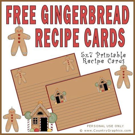 gingerbread recipe card template free gingerbread recipe cards country graphics