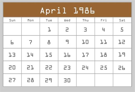 Calendar Site April 1986 Calendar New Calendar Template Site