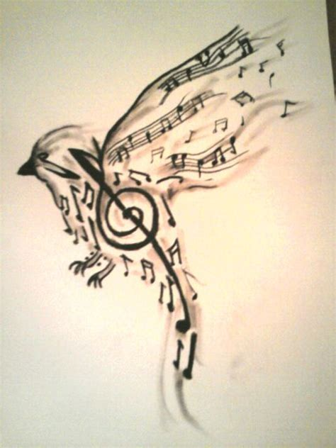 bird made up of music notes tattoo design tattooshunt com